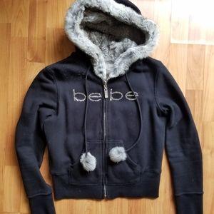 Bebe black reversible fur hoodie
